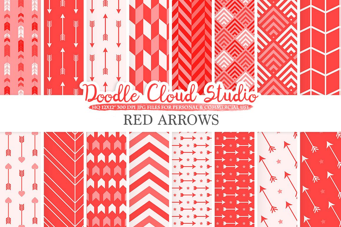 Red Arrows digital paper, Scarlet Arrow patterns, tribal, archery, chevron triangles backgrounds Instant Download, Personal & Commercial Use example image 1