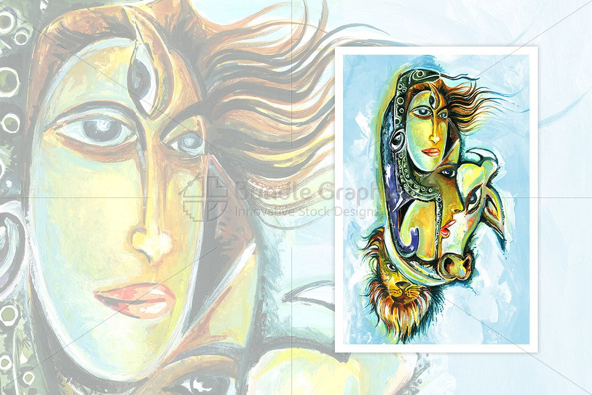 Lord Shiv and Goddess Parvati - Abstract Painting example image 1