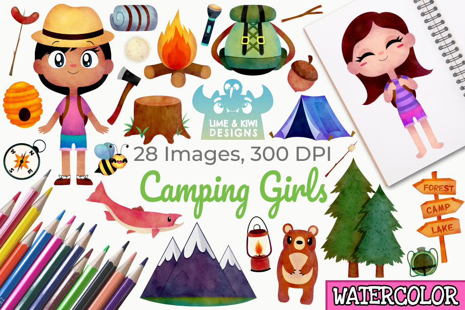 Camping Girls Watercolor Clipart, Instant Download example image 1