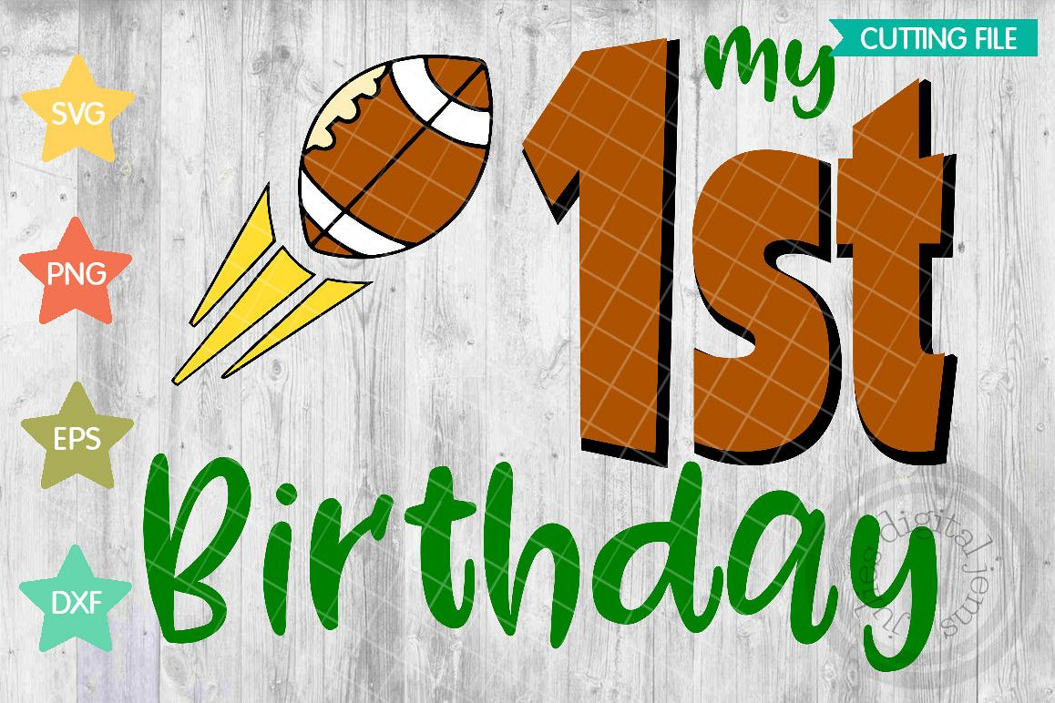 My 1st Birthday SVG Football Shirt Svg Example Image 1