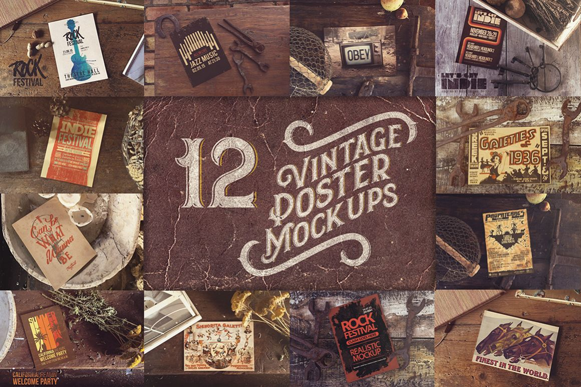 12 Vintage Poster Mockups 75 OFF example image 1