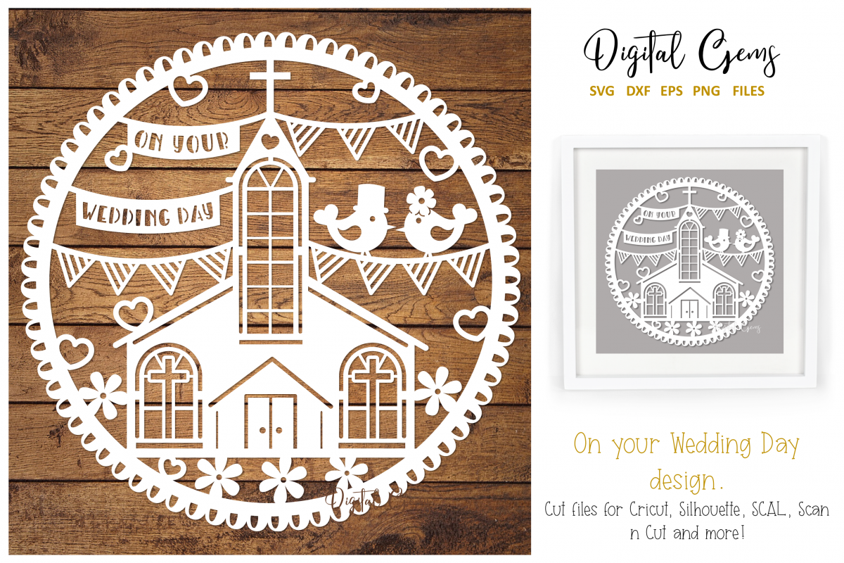 Wedding paper cut design. SVG / PNG / DXF / EPS files example image 1