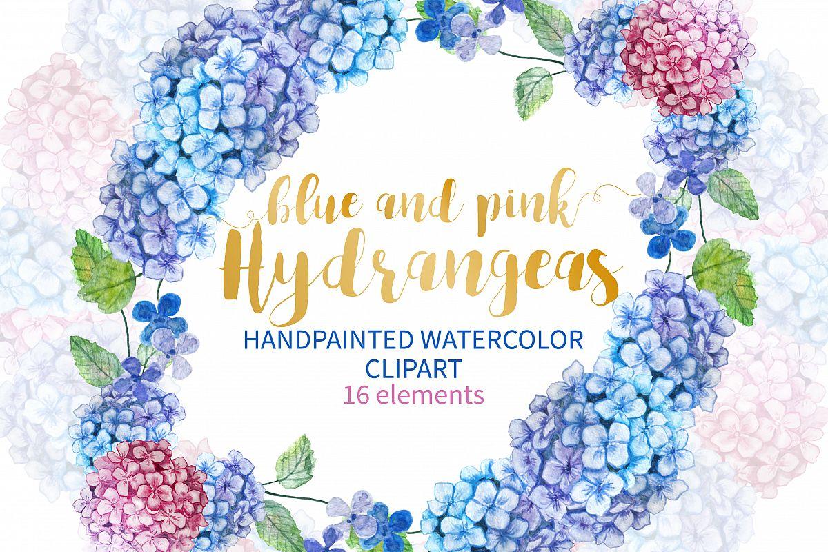 Watercolor Hydrangea Clipart example image 1