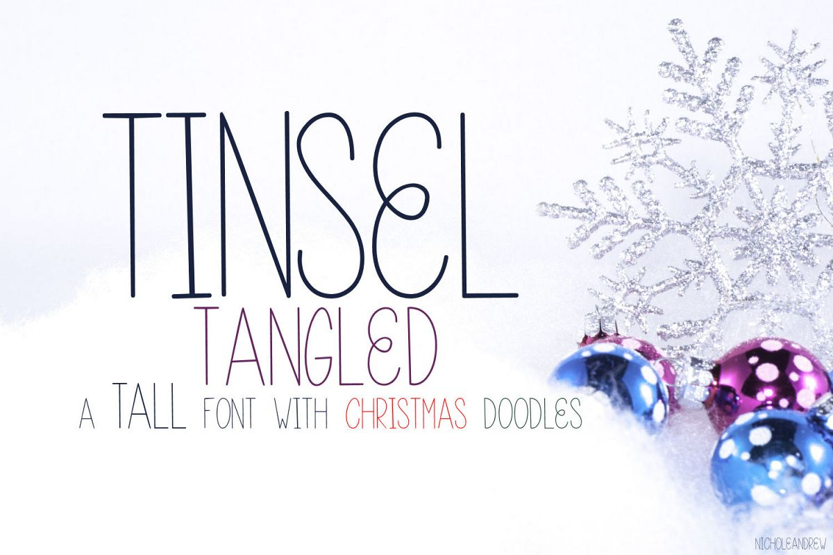 Tinsel Tangled, A Christmas Font With Fun Doodles example image 1