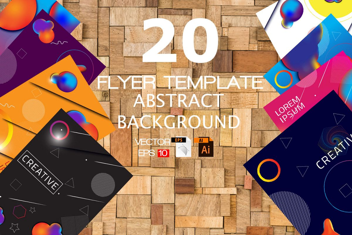 20 Vector Flyer Abstract Background Template example image 1