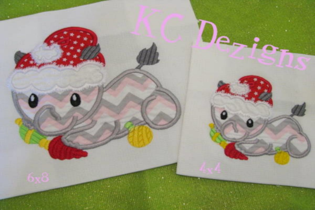 Christmas Baby Rhino Machine Applique Embroidery Design example image 1