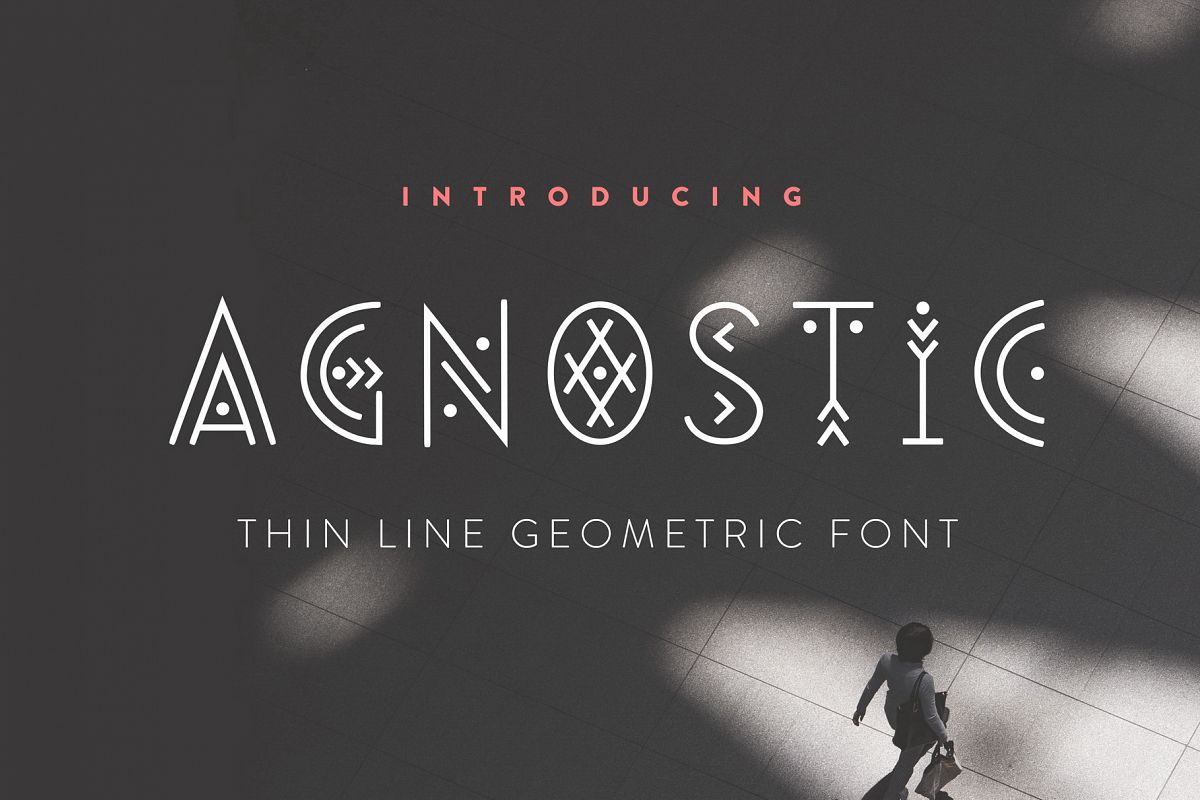Agnostic - Thin Line Geometric Font example image 1