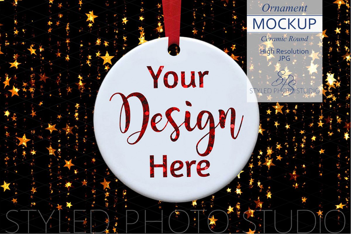 Ceramic Christmas Ornament Mockup with Gold Stars example image 1