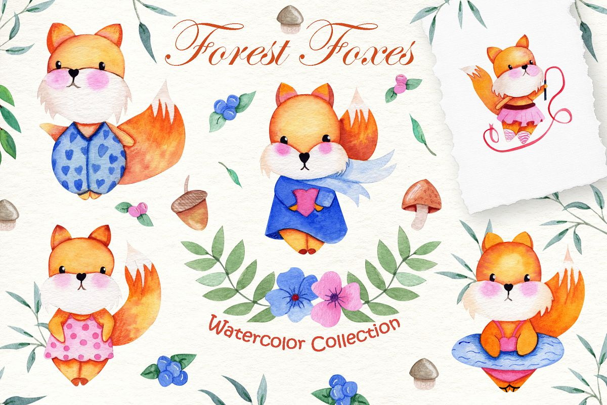 Watercolor Foxes Collection example image 1