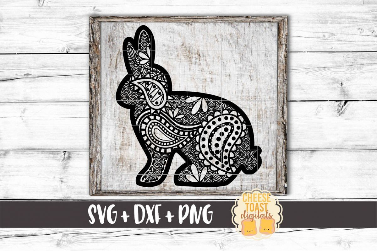 Easter Bunny - Zen Doodle Art - Easter SVG PNG DXF Cut Files example image 1