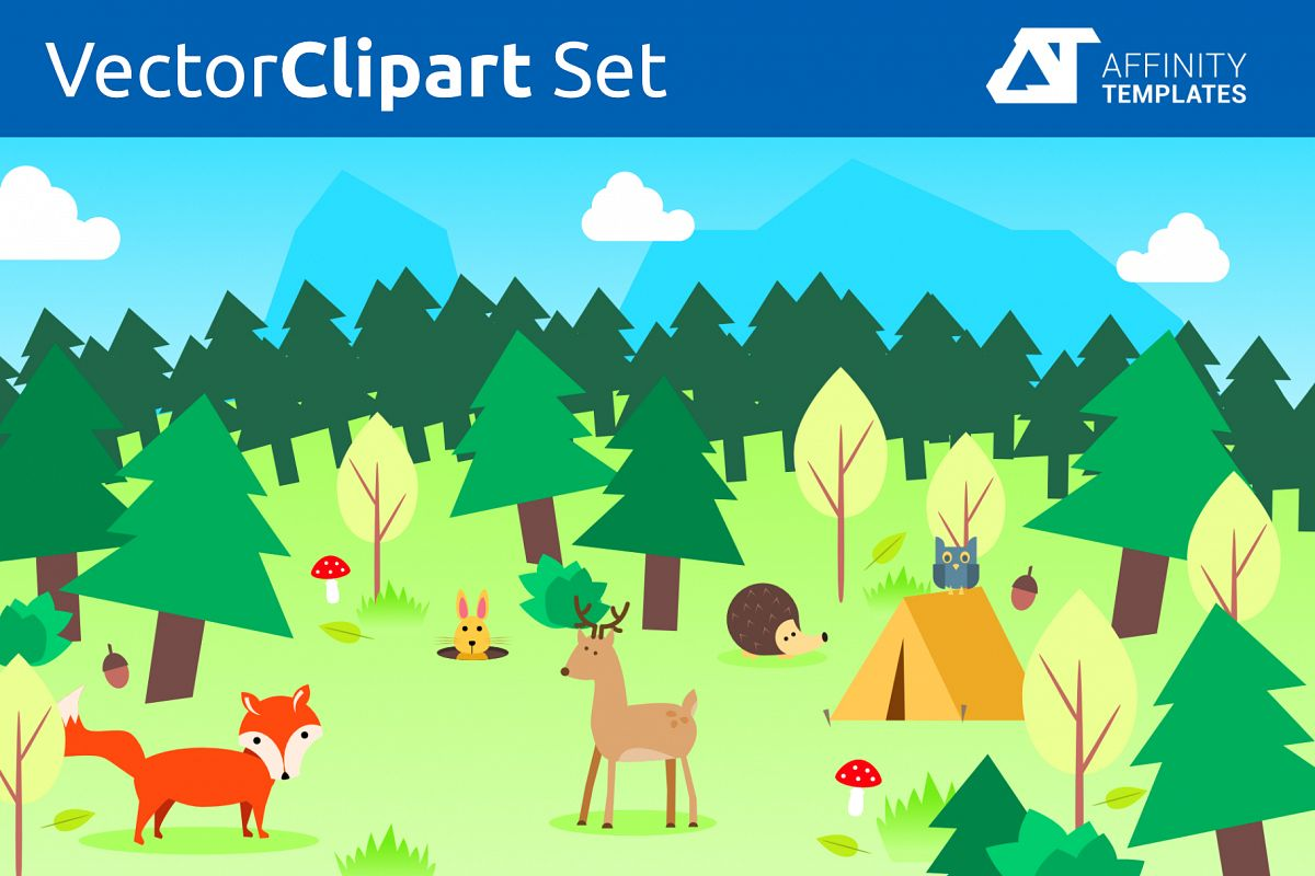 Forest Clip Arts for kindergarten Vector SVG example image 1