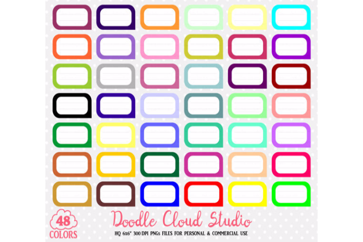 48 Colorful Labels Clipart Label Banner Stickers Icons PNG with Transparent Background for Personal & Commercial Use example image 1