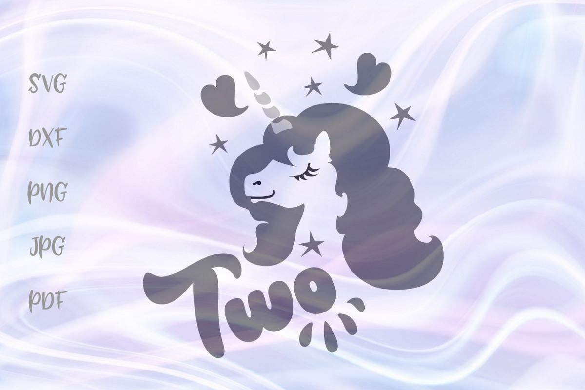 Two Unicorn 2nd Birthday Girl Outfit Sign Cut File SVG DXF example image 1
