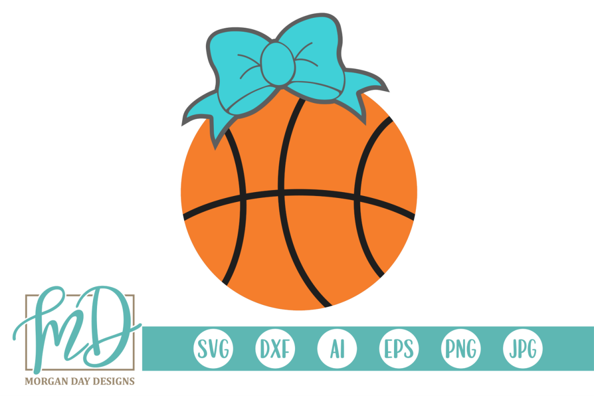 Basketball with Bow SVG, DXF, AI, EPS, PNG, JPEG example image 1