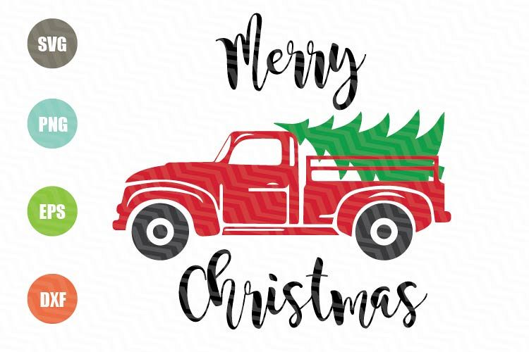 Truck With Christmas Tree SVG example image 1
