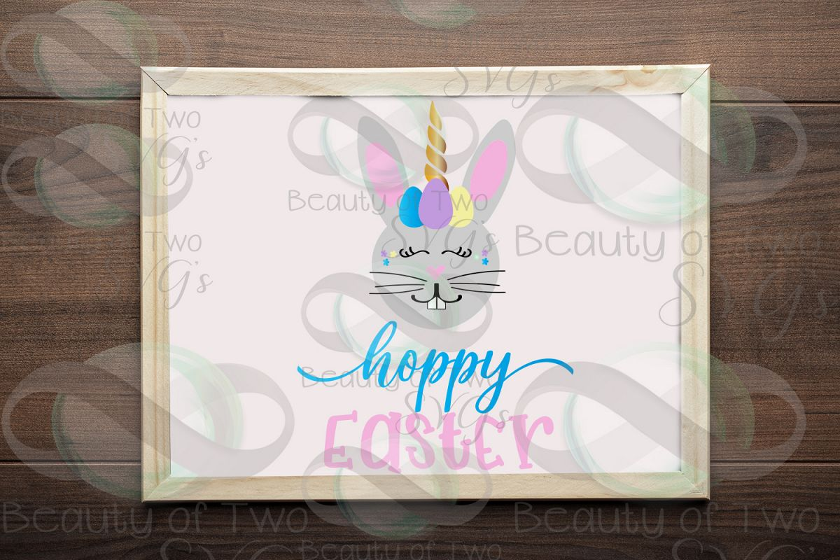 Hoppy Easter Unicorn Bunny svg & png, Kids Easter svg, example image 1