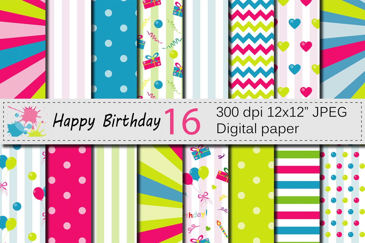 happy birthday digital papers with balloons and presents kids