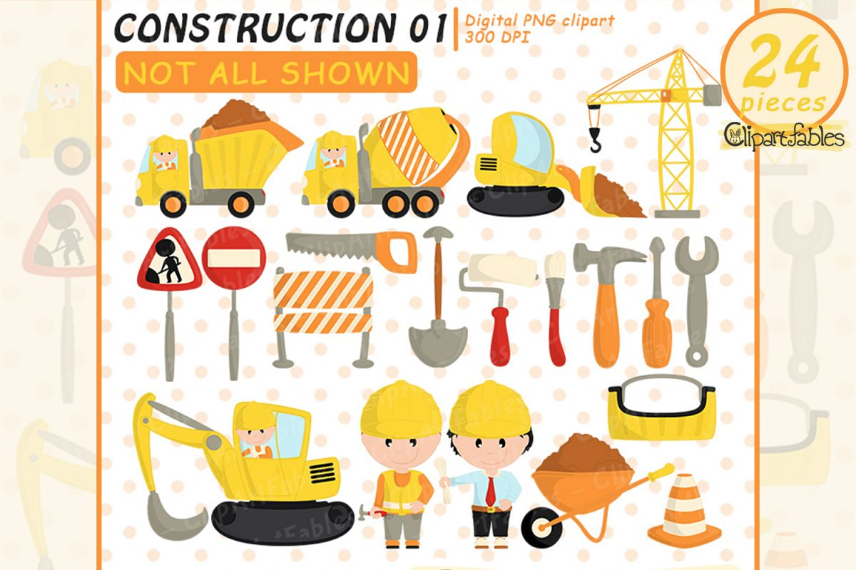 UNDER CONSTRUCTION clipart, Cute truck art- INSTANT download example image 1