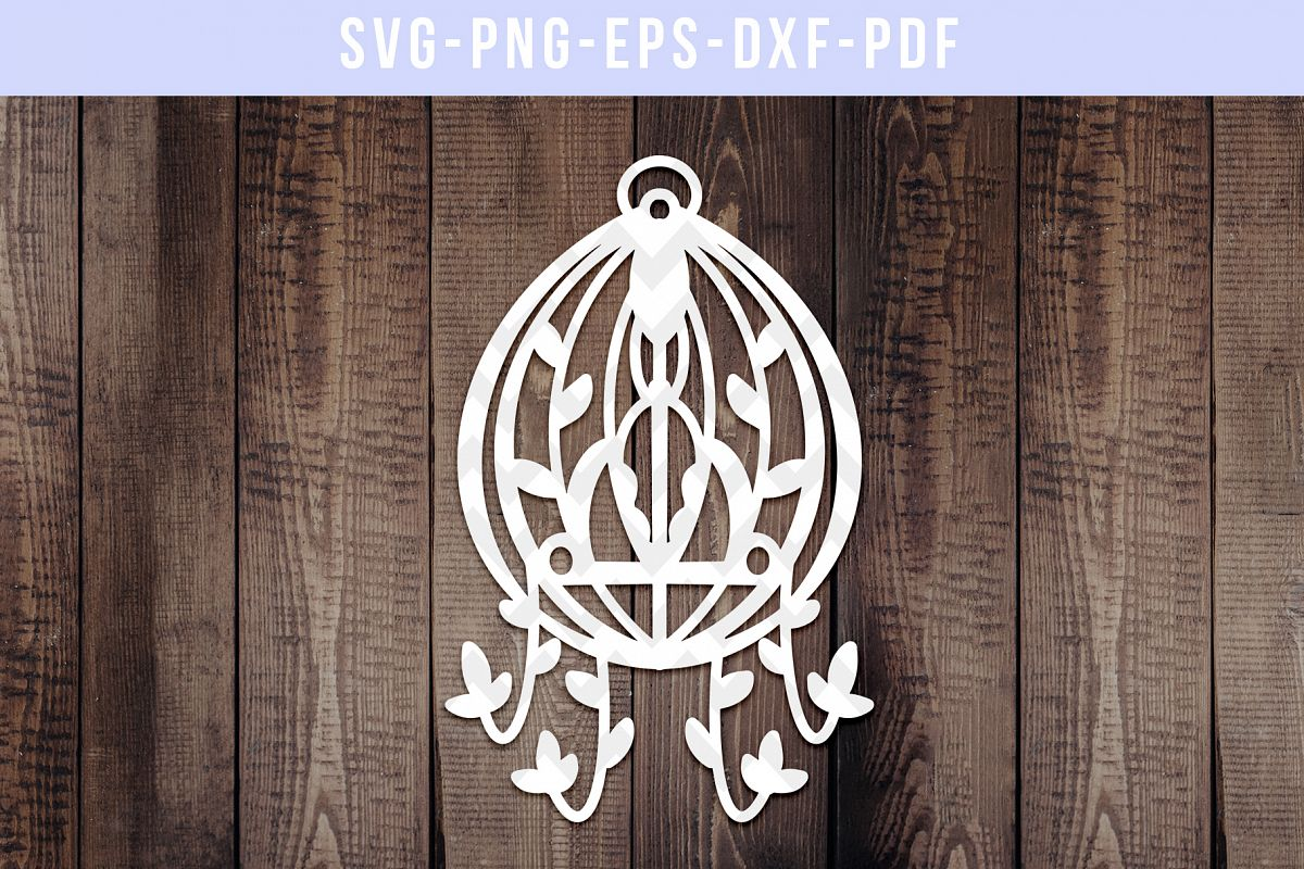 Bird Cage 4 Paper Cut Template, Floral Birdcage SVG, PDF example image 1