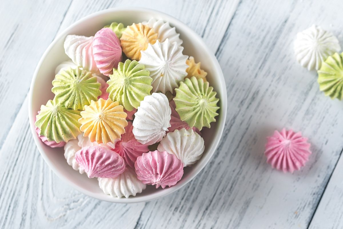 Bowl of colored meringues example image 1