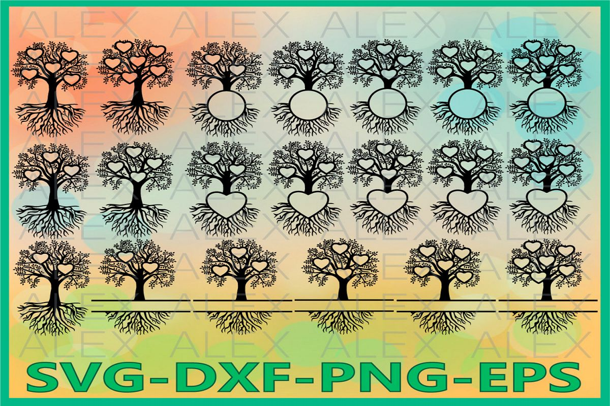 Family Tree Heart Svg, Split Frame Family Tree example image 1