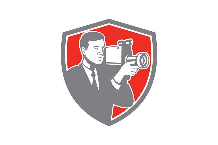 Video Cameraman Shooting Vintage Shield Retro example image 1