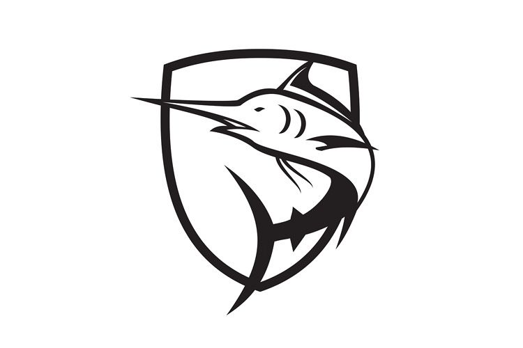 Blue Marlin Jumping Crest Black and White example image 1