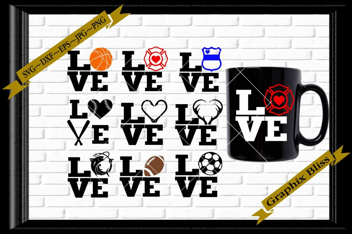 Stacked Love Sports First Responder Bundle SVG example image 1