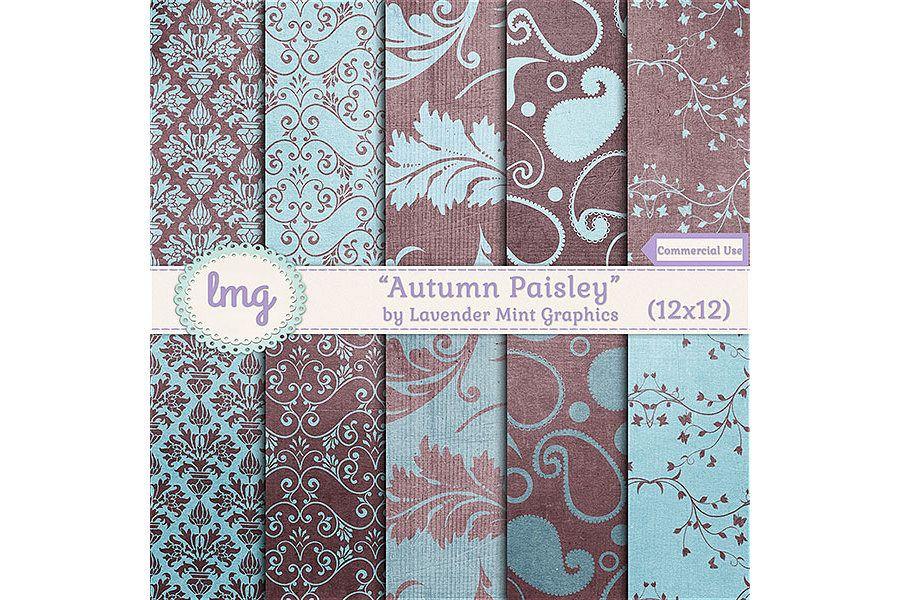 Autumn Paisley Digital Paper example image
