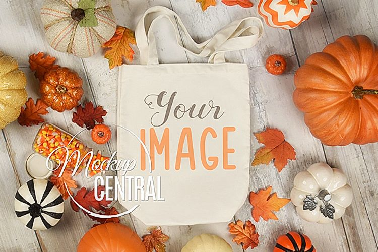White Halloween Fall Tote Bag Mockup JPG, Flat Lay Photo example image 1