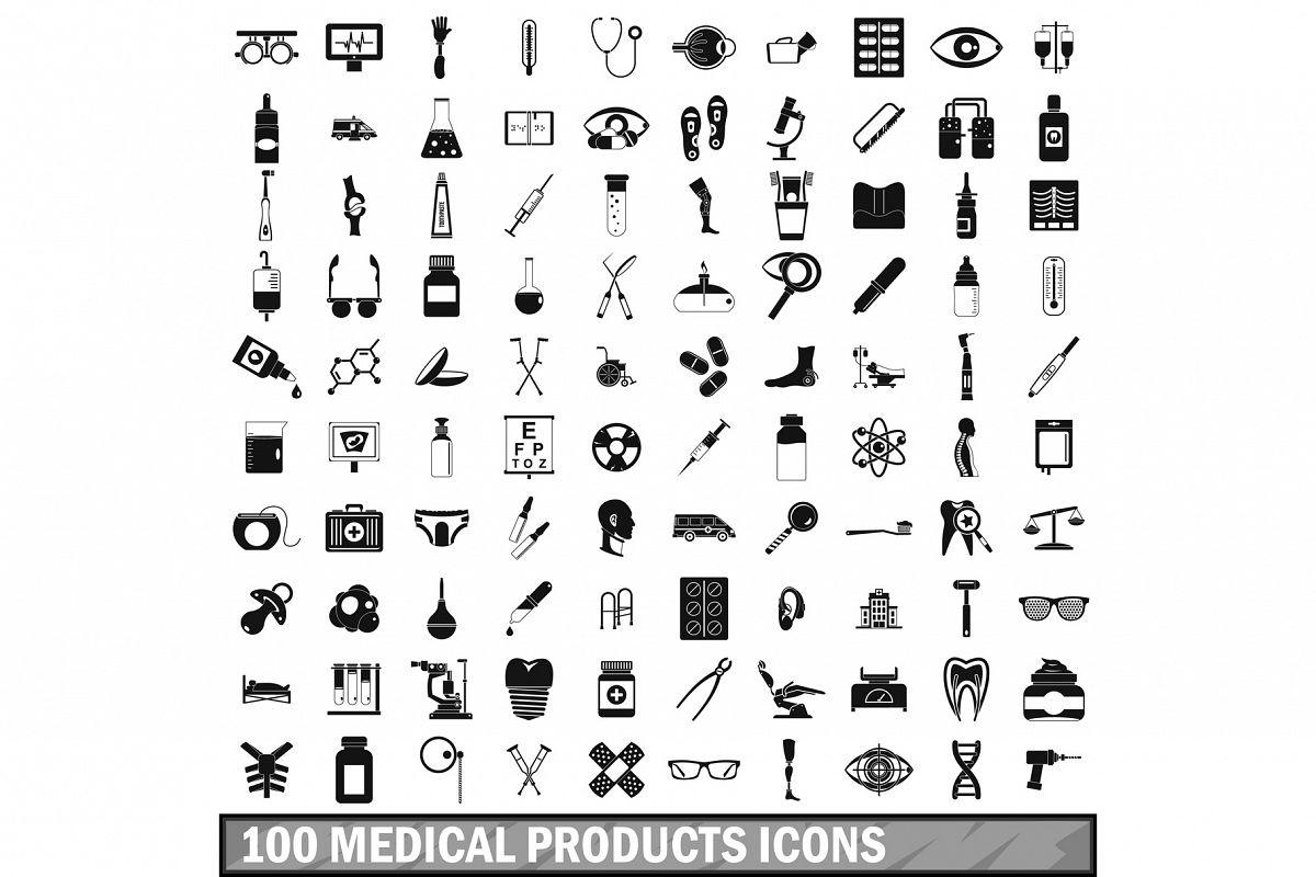 100 medical products icons set, simple style example image 1