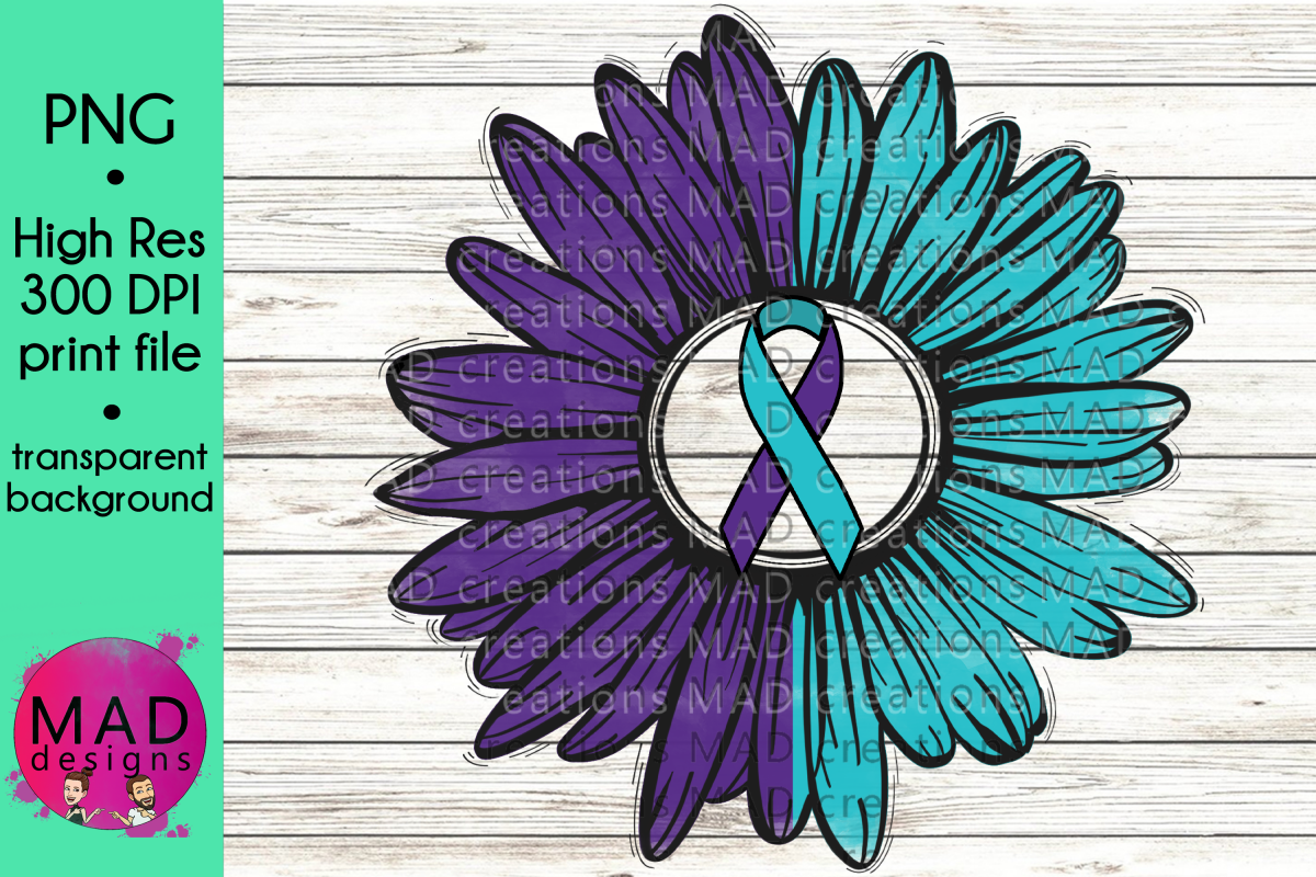 Suicide Prevention Awareness - Rustic Sunflower Ribbon example image 1