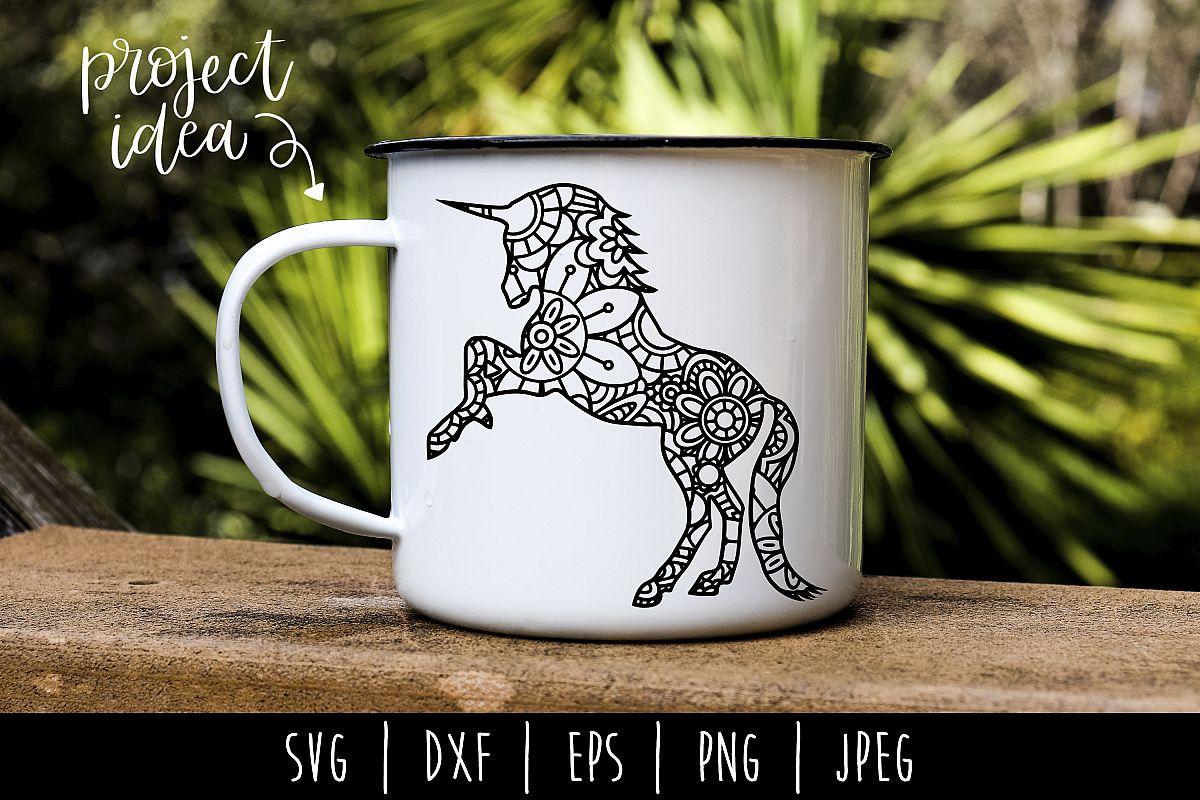Unicorn Mandala Zentangle SVG, DXF, EPS, PNG, JPEG example image 1