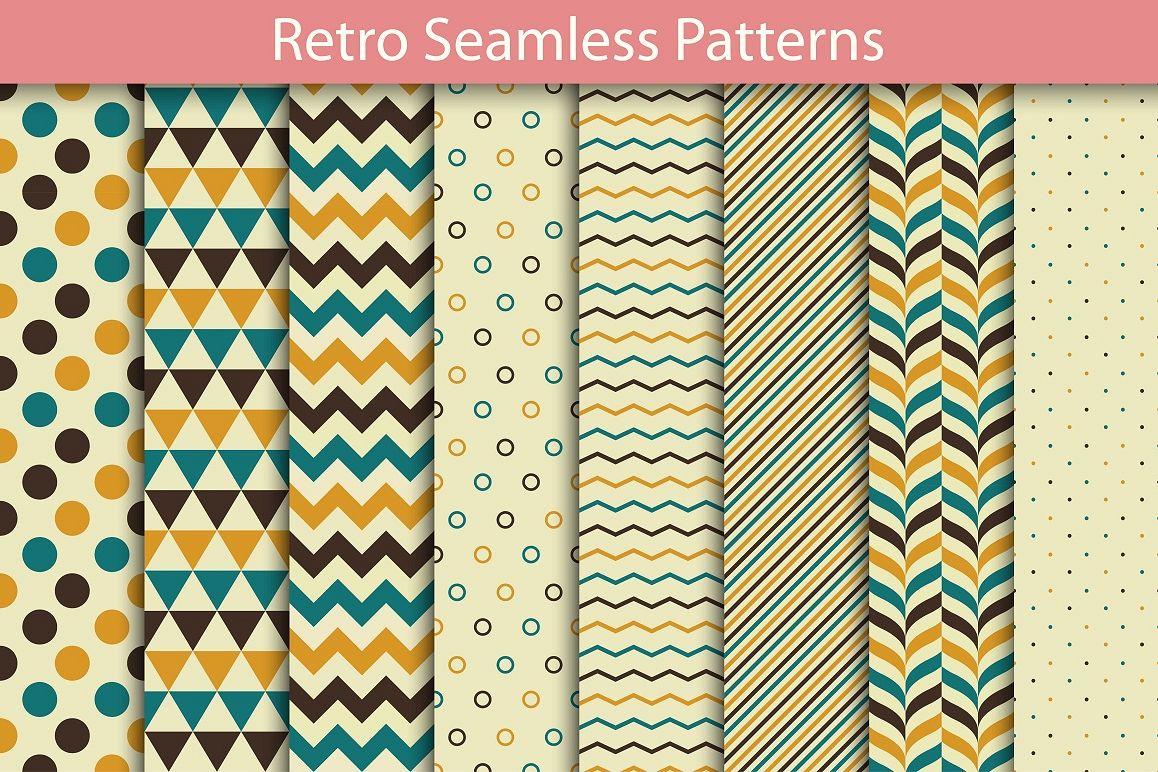 Set of Retro Seamless Patterns example image 1