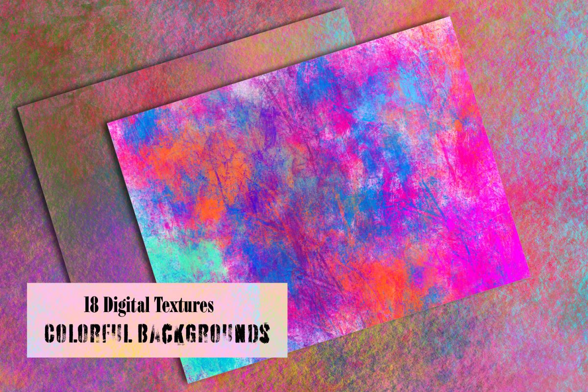 Colorful splash backgrounds. Grungy Digital textured papers example image 1
