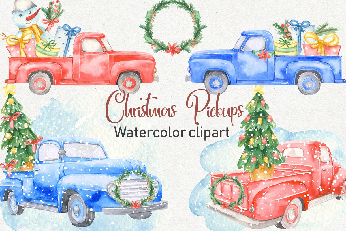 Christmas pickup Watercolor clipart and Christmas elements example image 1