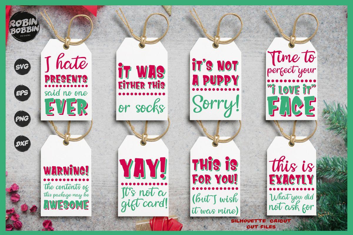 Funny Christmas Tags SVG Bundle example image 1