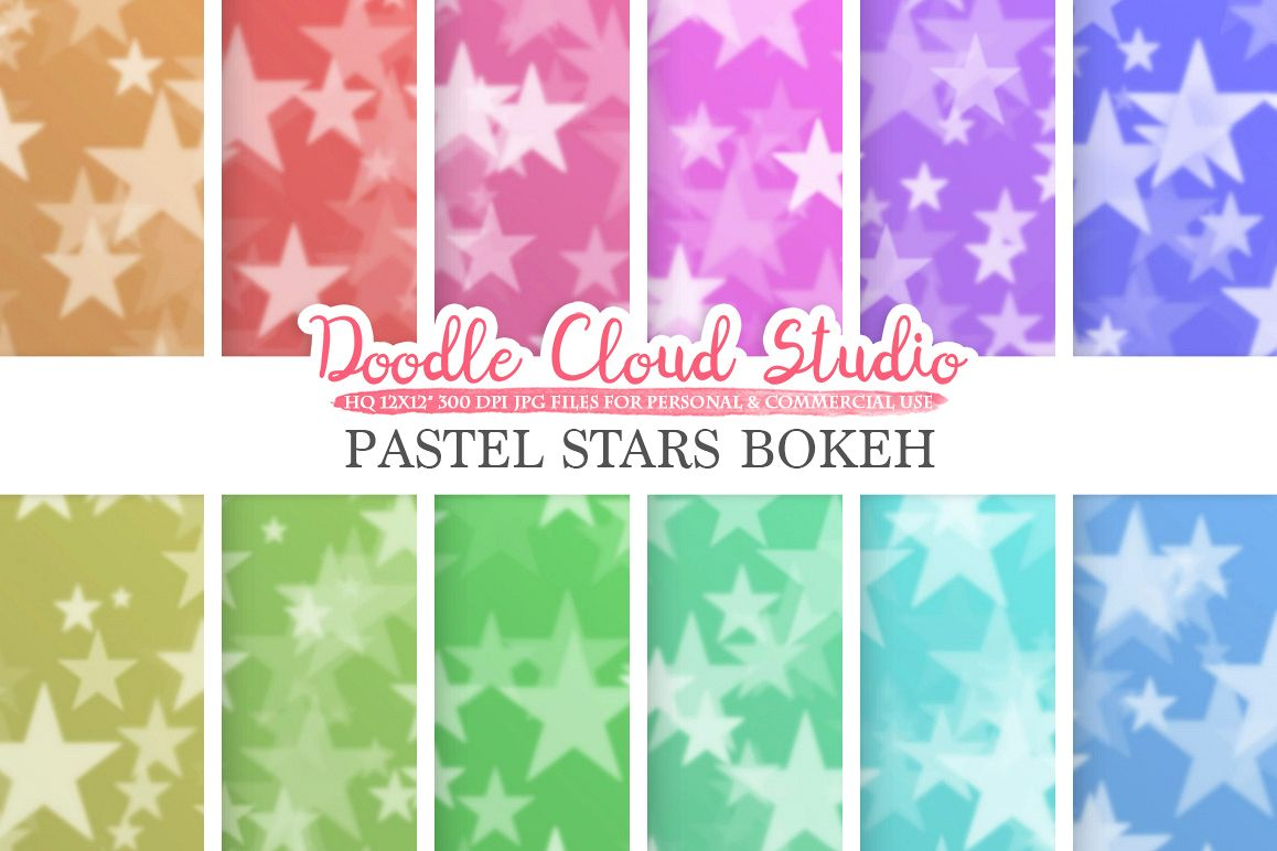 Pastel Stars Bokeh digital paper, Pastel colors Bokeh Overlay, Star Bokeh backgrounds, Instant Download, for Personal & Commercial Use example image 1