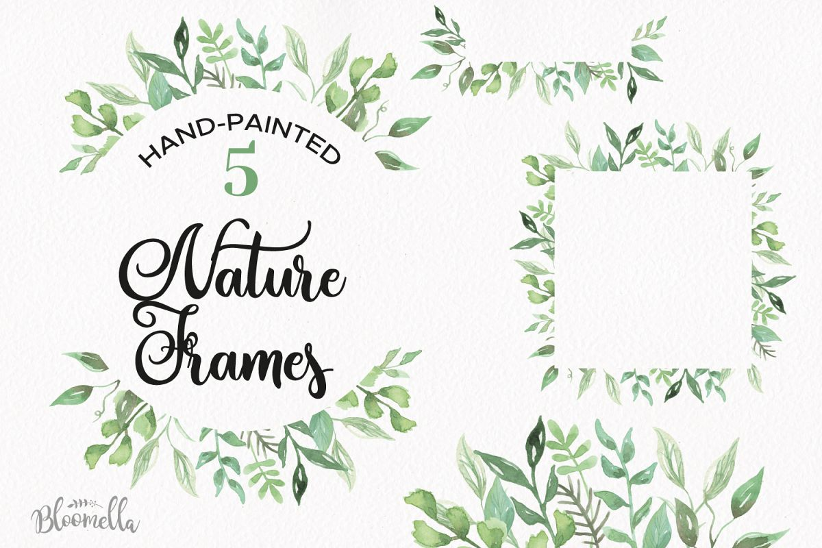 Nature Frames Watercolor Clipart Border Flowers Greenery Leaves Florals Example Image
