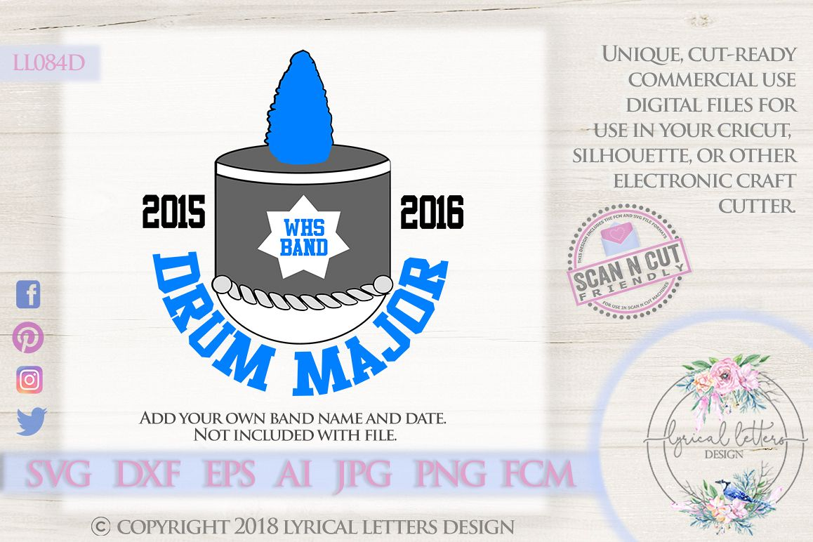 Drum Major Marching Band SVG DXF Cut File LL084E example image 1