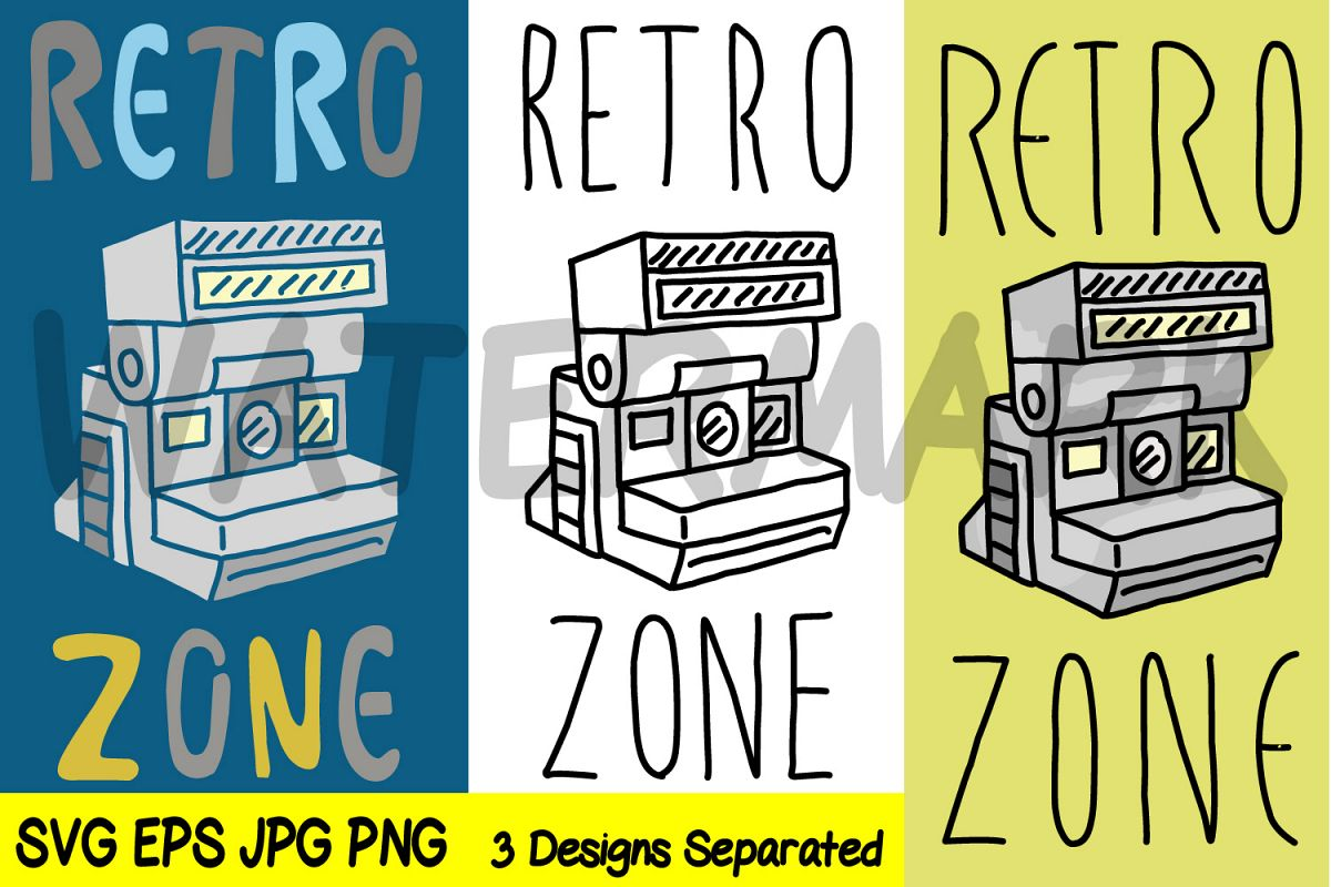 Retro Zone with Polaroid Camera - JPG PNG SVG EPS example image 1