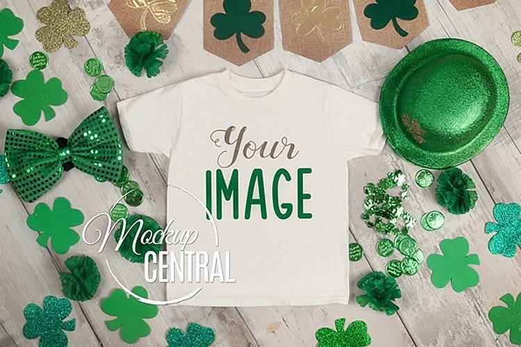 Blank White St. Patrick's T-Shirt Top View Shirt Mockup JPG example image 1