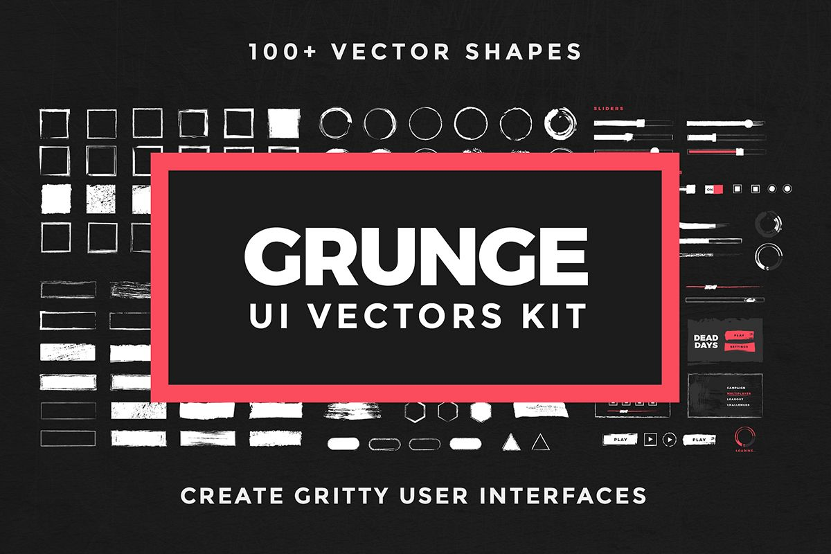 Grunge UI Vectors Kit example image 1
