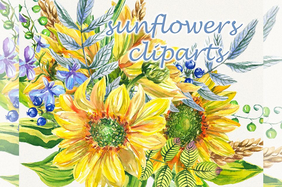Sunflower clipart, sunflower watercolor clipart, floral example image 1