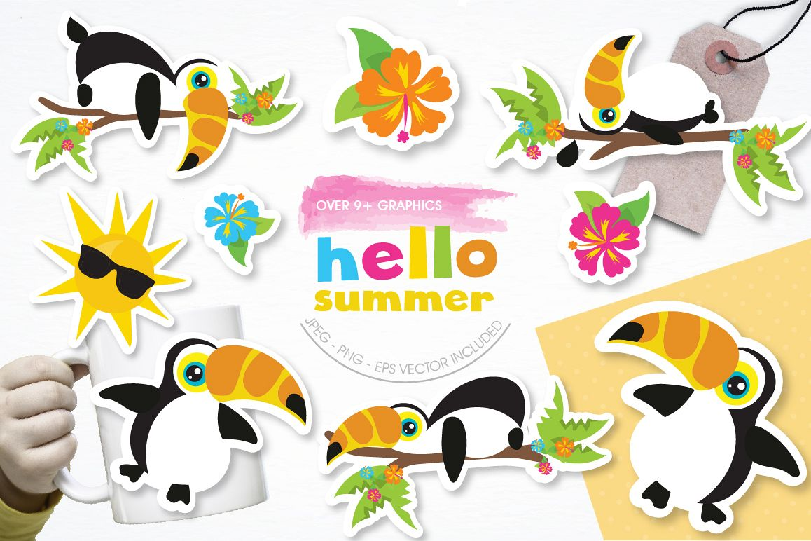 Hello Summer graphic and illustrations example image 1