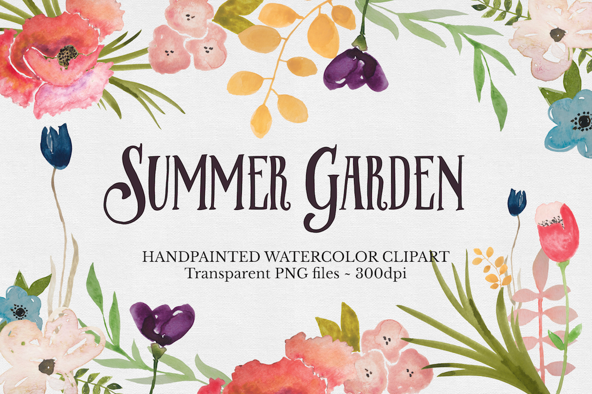 Watercolor Flower Clipart Set example image 1