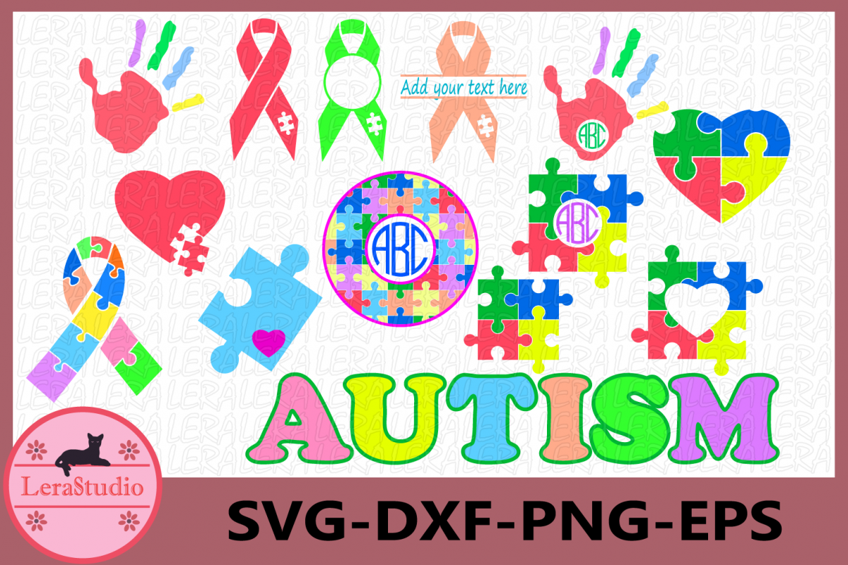 Autism SVG, Autism Awareness Monogram Svg, Autism Heart SVG example image 1