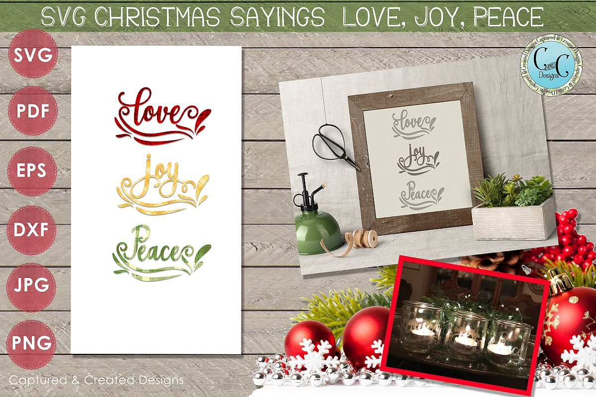 SVG Christmas Sayings Love, Joy Peace with Patterned Papers- example image 1