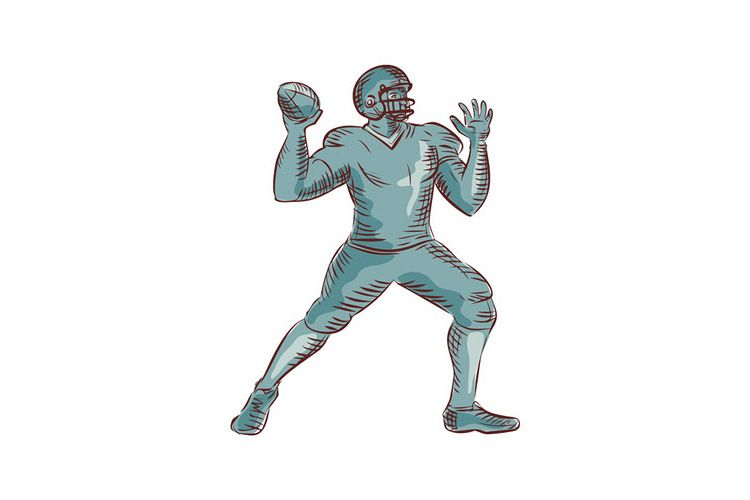 American Football QB Throwing Etching example image 1