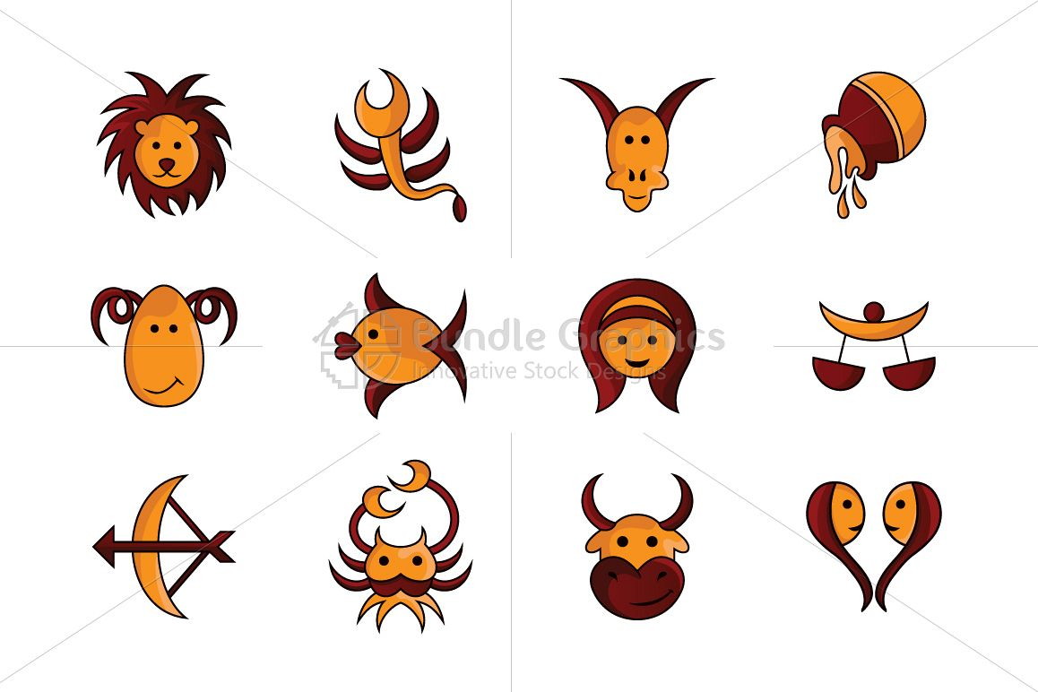 Comic Style Zodiac Signs - Iconic Set example image 1